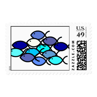 Christian Fish School - Blue and Aqua Stamps