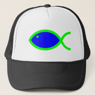 Christian Fish Symbol - Blue with Green Trucker Hat