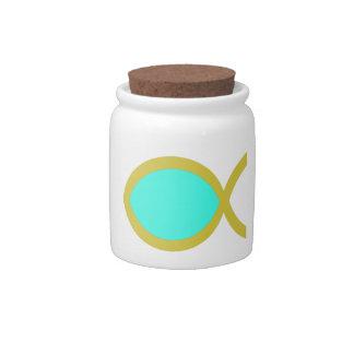 Christian Fish Symbol Candy Jar