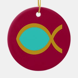 Christian Fish Symbol Ceramic Ornament