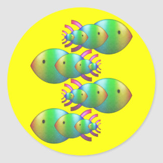 Christian Fish Symbol Families Classic Round Sticker