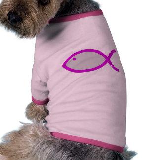 Christian Fish Symbol - Grey with Pink Doggie Tshirt
