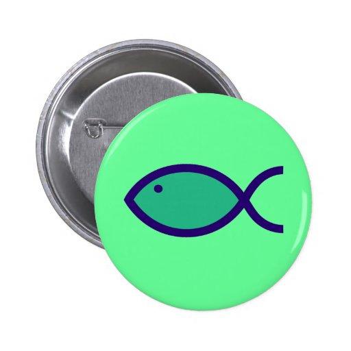 Christian Fish Symbol - LOUD! - Aqua and Blue Button