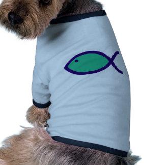 Christian Fish Symbol - LOUD - Aqua and Blue Dog Tee Shirt