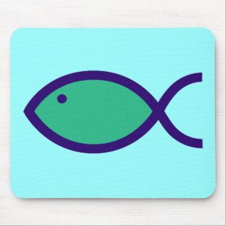 Christian Fish Symbol - LOUD! - Aqua and Blue Mouse Pad