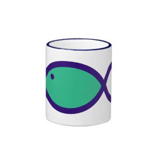 Christian Fish Symbol - LOUD! - Aqua and Blue Ringer Mug