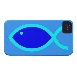 Christian Fish Symbol - LOUD Blue and Aqua 1 iPhone 4 Cover