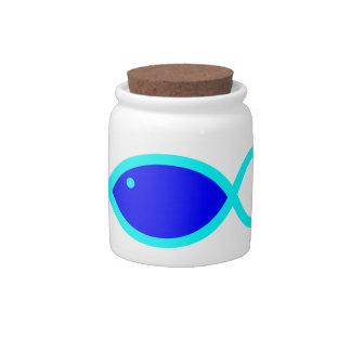 Christian Fish Symbol - LOUD! Blue and Aqua Candy Jars