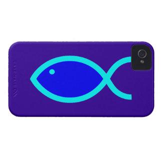 Christian Fish Symbol - LOUD Blue and Aqua iPhone 4 Cases