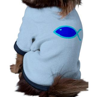 Christian Fish Symbol - LOUD Blue and Aqua Doggie Tshirt