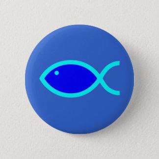 Christian Fish Symbol - LOUD! Blue and Aqua Pinback Button