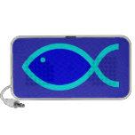 Christian Fish Symbol - LOUD! Blue and Aqua Travel Speaker