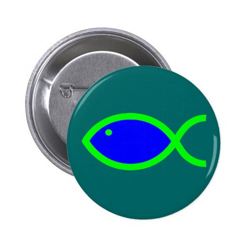 Christian Fish Symbol - LOUD! Blue and Green Pinback Button