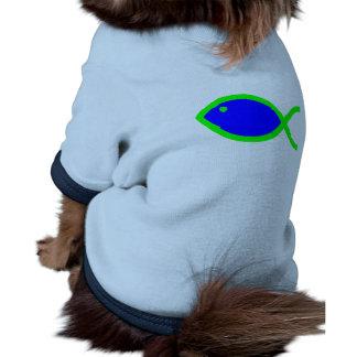 Christian Fish Symbol - LOUD Blue and Green Pet Tee