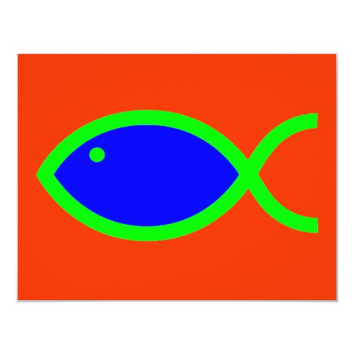 Christian Fish Symbol - LOUD! Blue and Green Personalized Invitation