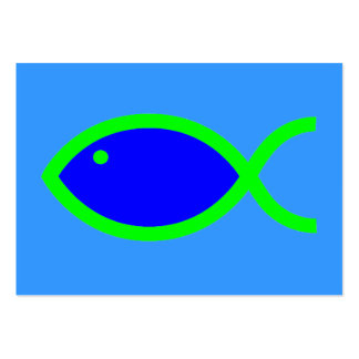 Christian Fish Symbol - LOUD! Blue and Green Large Business Card