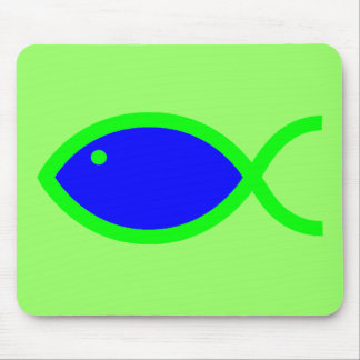 Christian Fish Symbol - LOUD! Blue and Green Mouse Pad