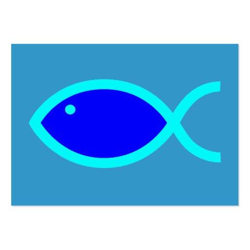 Christian Fish Symbol LOUD! Blue-Aqua Tract Card / Business Cards