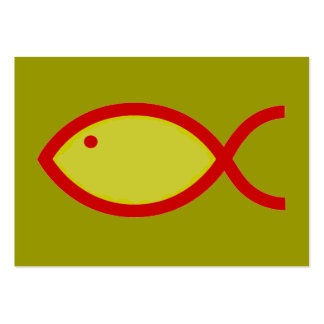 Christian Fish Symbol - LOUD! Gold and Red Large Business Card