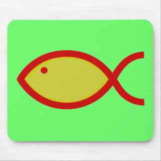 Christian Fish Symbol - LOUD! Gold and Red Mousepad