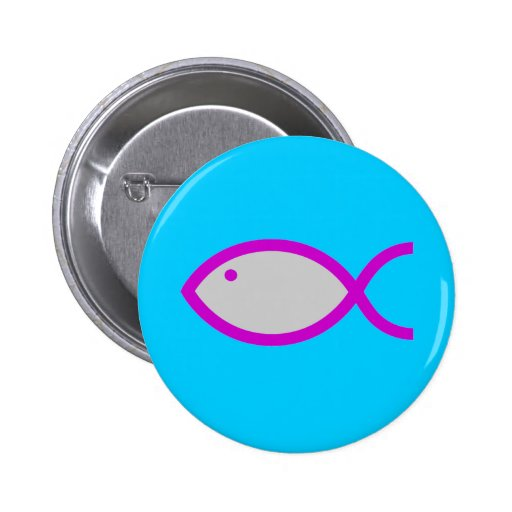 Christian Fish Symbol - LOUD! Grey and Pink Buttons