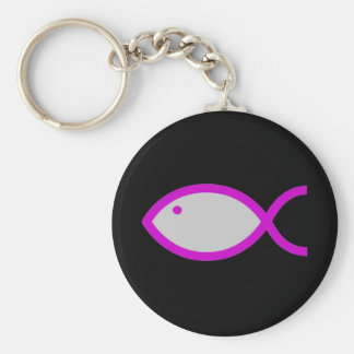 Christian Fish Symbol - LOUD! Grey and Pink Keychains