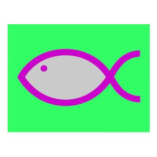 Christian Fish Symbol - LOUD! Grey and Pink Postcard