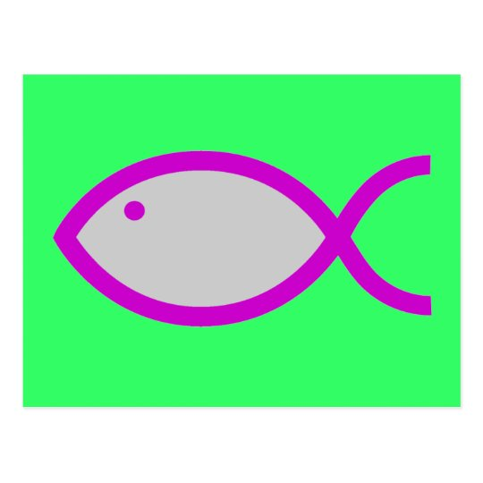 Christian Fish Symbol - LOUD! Grey and Pink Postcard