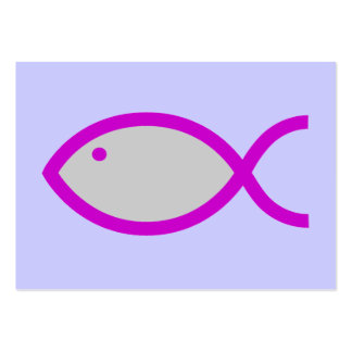 Christian Fish Symbol - LOUD! Grey with Pink Large Business Card