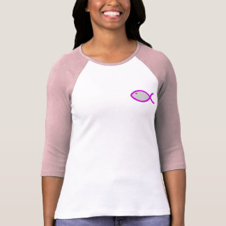 Christian Fish Symbol - LOUD! Grey with Pink T-Shirt