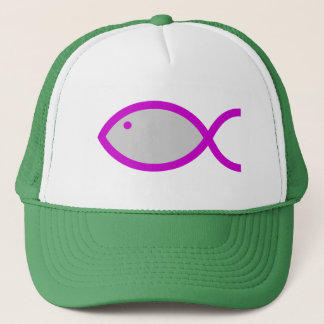 Christian Fish Symbol - LOUD! Grey with Pink Trucker Hat