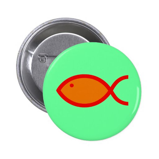 Christian Fish Symbol - LOUD! Orange and Red Button
