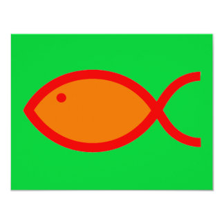 Christian Fish Symbol - LOUD! Orange and Red Card