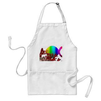 Christian Fish Symbol - Rainbow Ocean Apron