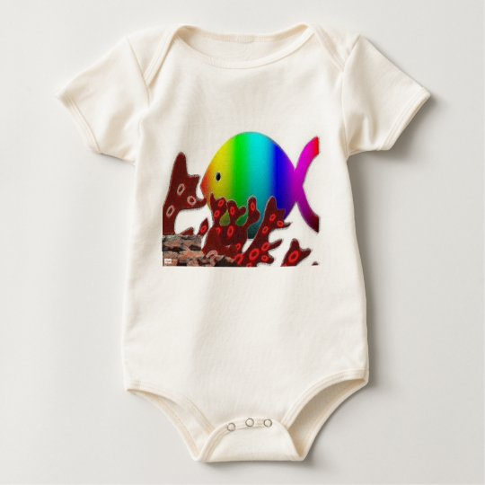 Christian Fish Symbol - Rainbow Ocean Baby Bodysuit