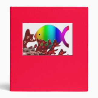 Christian Fish Symbol - Rainbow Ocean 3 Ring Binder