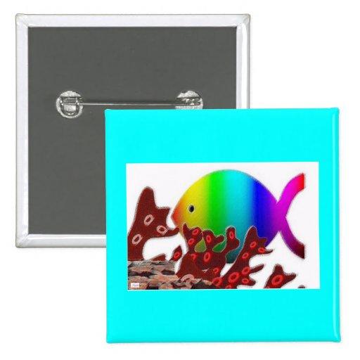 Christian Fish Symbol - Rainbow Ocean Pins