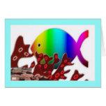 Christian Fish Symbol - Rainbow Ocean Greeting Cards