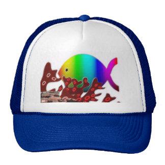 Christian Fish Symbol - Rainbow Ocean Trucker Hat