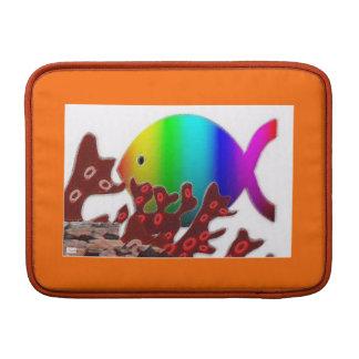 Christian Fish Symbol - Rainbow Ocean MacBook Sleeves