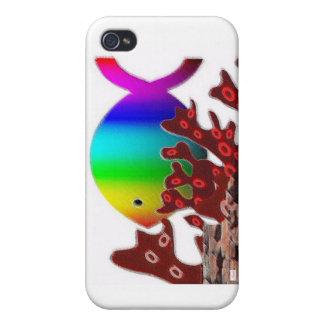 Christian Fish Symbol - Rainbow Ocean iPhone 4/4S Covers