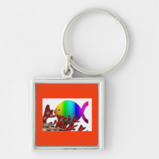 Christian Fish Symbol - Rainbow Ocean Keychain