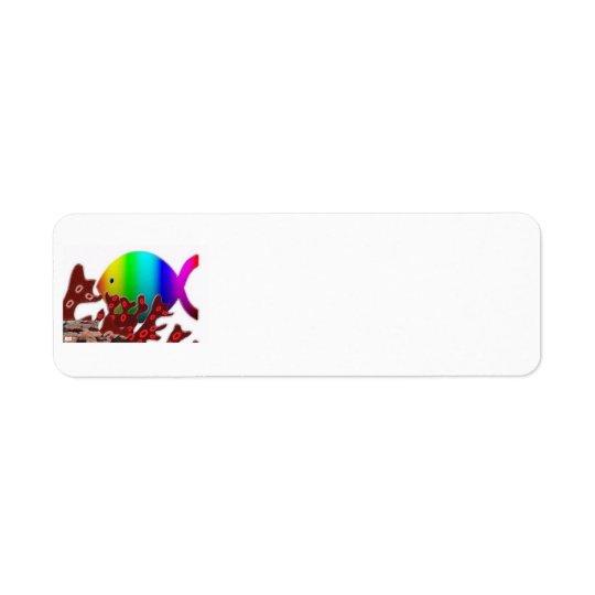 Christian Fish Symbol - Rainbow Ocean Label