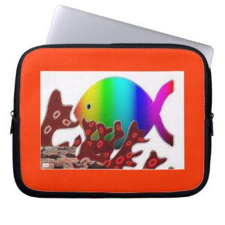 Christian Fish Symbol - Rainbow Ocean Laptop Computer Sleeves
