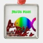 Christian Fish Symbol - Rainbow Ocean Ornaments