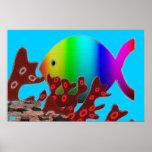 Christian Fish Symbol - Rainbow Ocean Print