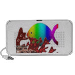 Christian Fish Symbol - Rainbow Ocean Laptop Speaker