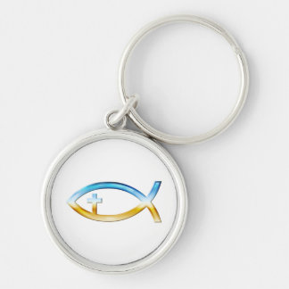 Christian Fish Symbol Silver-Colored Round Keychain