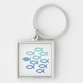 Christian Fish Symbol Silver-Colored Square Keychain