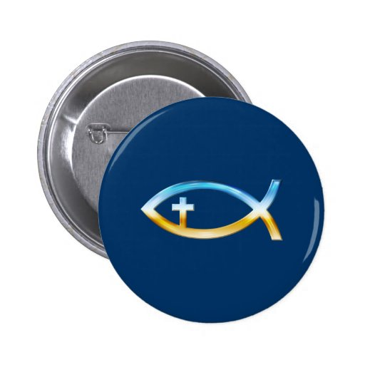 Christian Fish Symbol with Crucifix - Sky & Ground Buttons